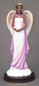 Angel in lavender with dove 10.25H