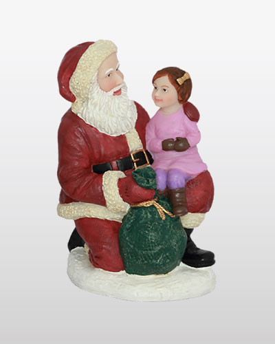 Santa Kneeling with Girl WH 5H             New!