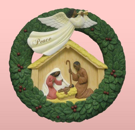 Nativity wreath plaque 12x12