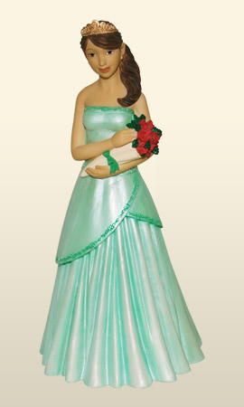 Quinceanera w/ bouquet in green 8.5H     *